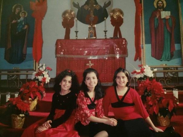 Alana, her sister, and godsister at church