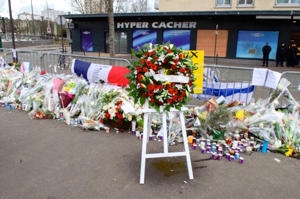 Wreaths outside the Hypercacher kosher supermarket in homage to the four victims