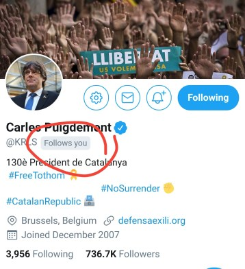 "screenshot of Carles Puigdemont's Twitter profile with ""follows you"" circled beneath his name"