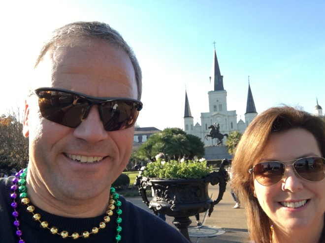 Jill and I hanging out in Jackson's Square in New Orleans historic French Quarter.