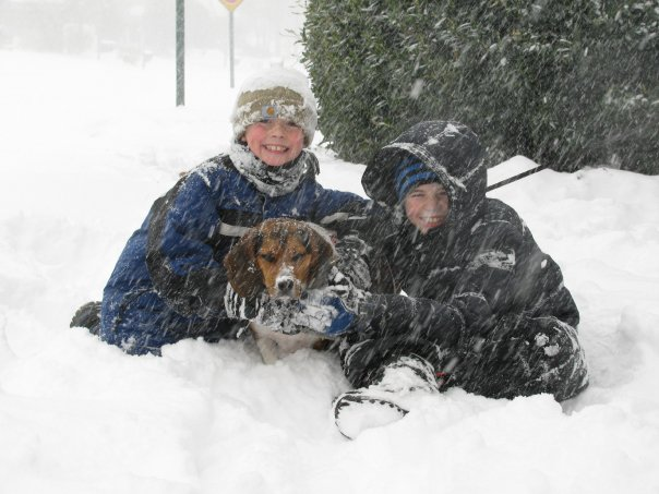 Riley, Ruger, and Gavin in the 2009 snowstorm. It was a big one.