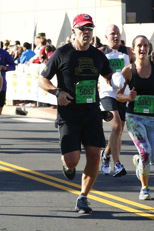 Approaching the finish line of the Army ten miler. Great race but always tough finish.