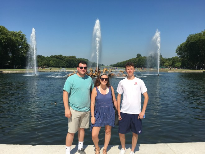 Jake, Jordan, and Riley in the Versailles Garden. It is huge and full of fountains.