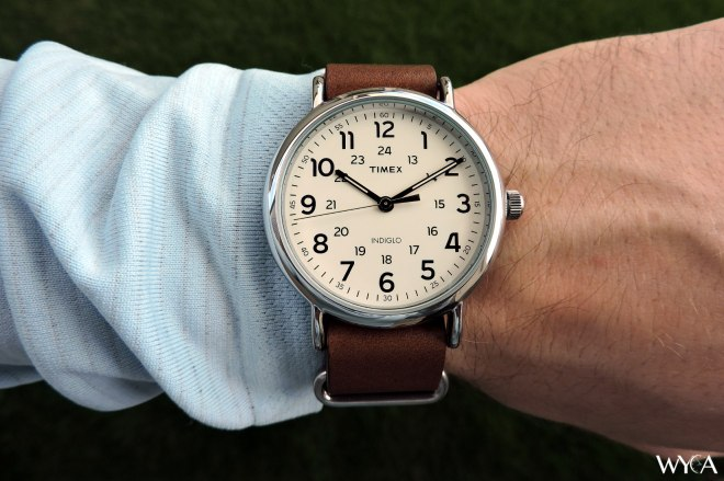 I wear a Timex Weekender - great watch at a reasonable price.