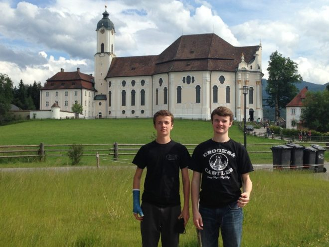 Gavin and Riley in front of the Wies Kirche in Bavaria