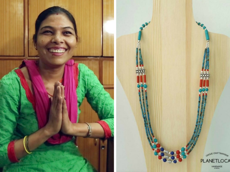 Ujeli, one of the artisans crafting one-of-a-kind jewellery for Planet Local