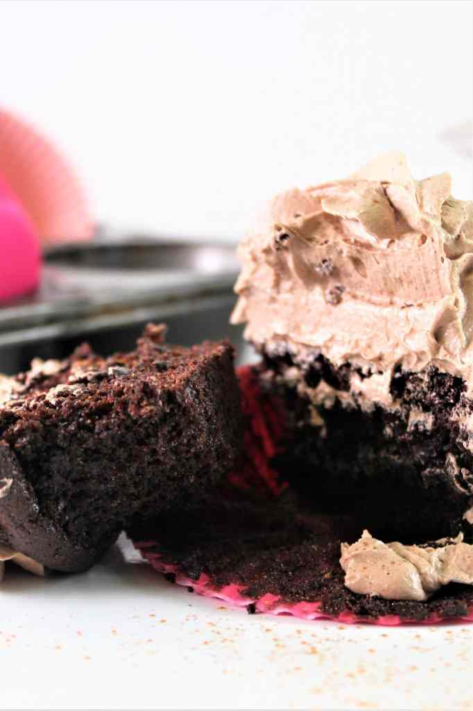 mexican chocolate cupcake cut open