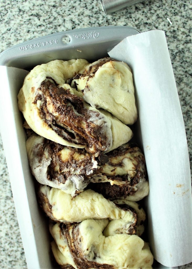 gluten free chocolate babka twisted in pan