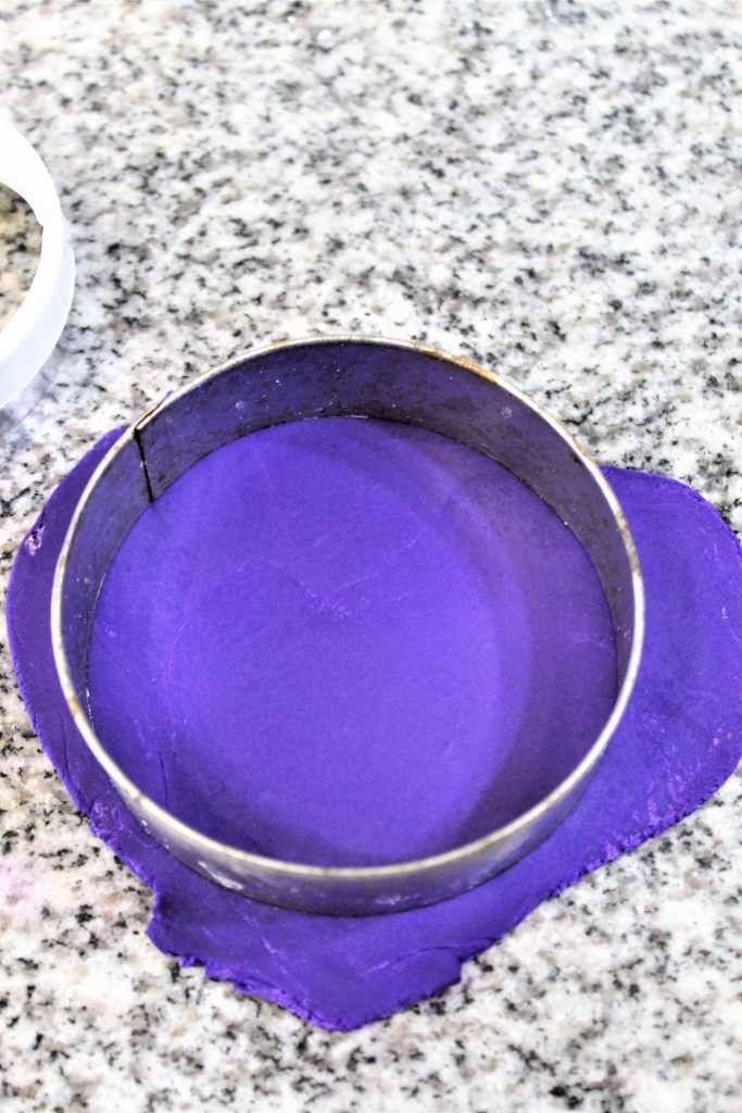 larger round cutting out purple fondant