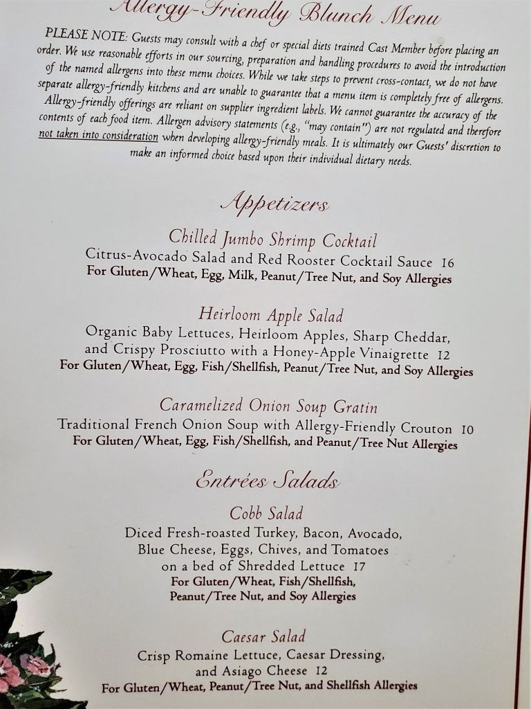 grand floridian cafe allergy menu first page