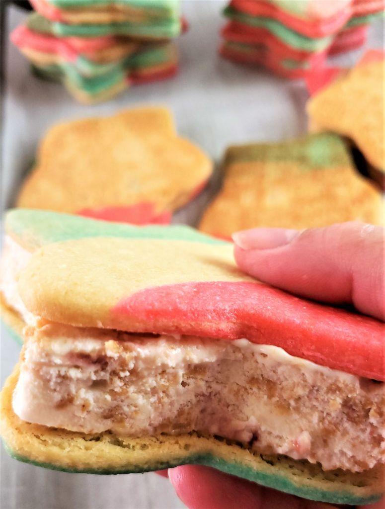 side view of patriotic ice cream sandwich