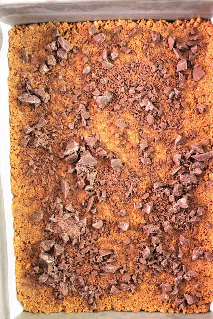 crust sprinkled with chopped milk chocolate