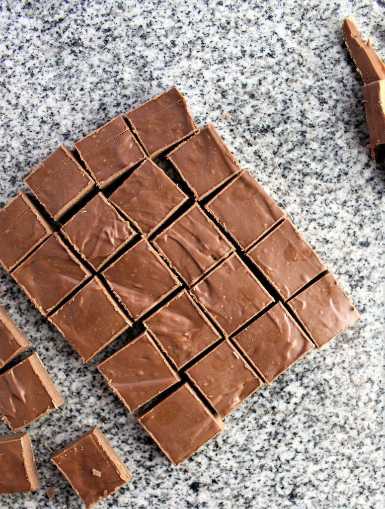 smaller squares cut from larger square of ganache