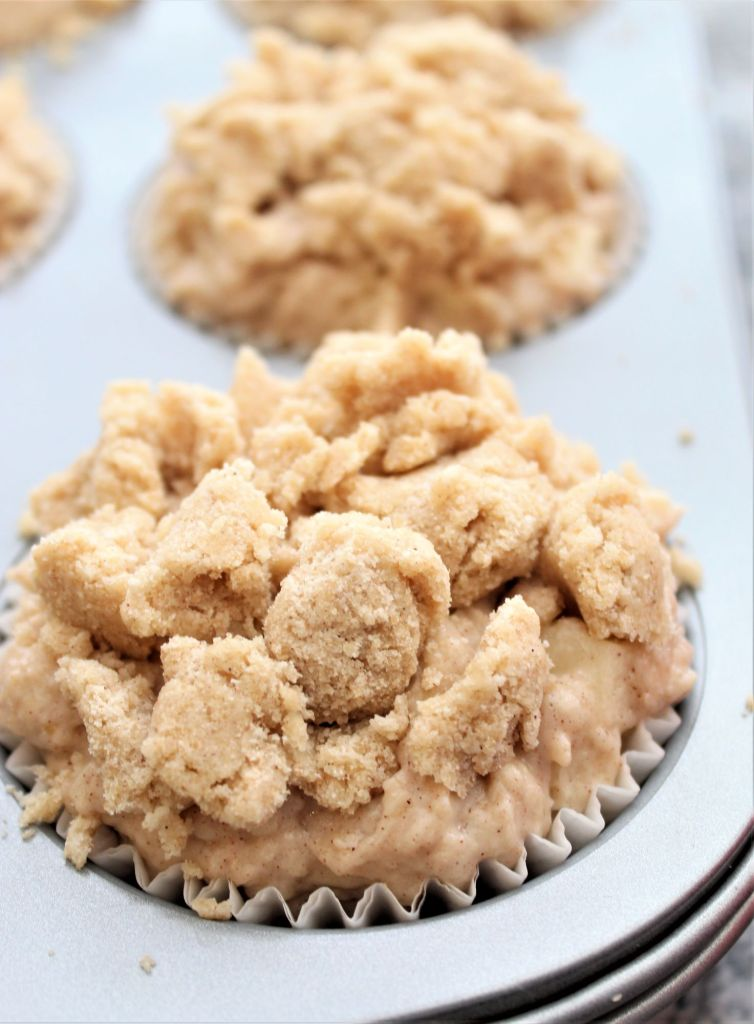 unbaked crumb topped jumbo muffins in pan