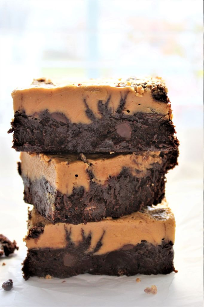 stack of 3 gluten free peanut butter brownies