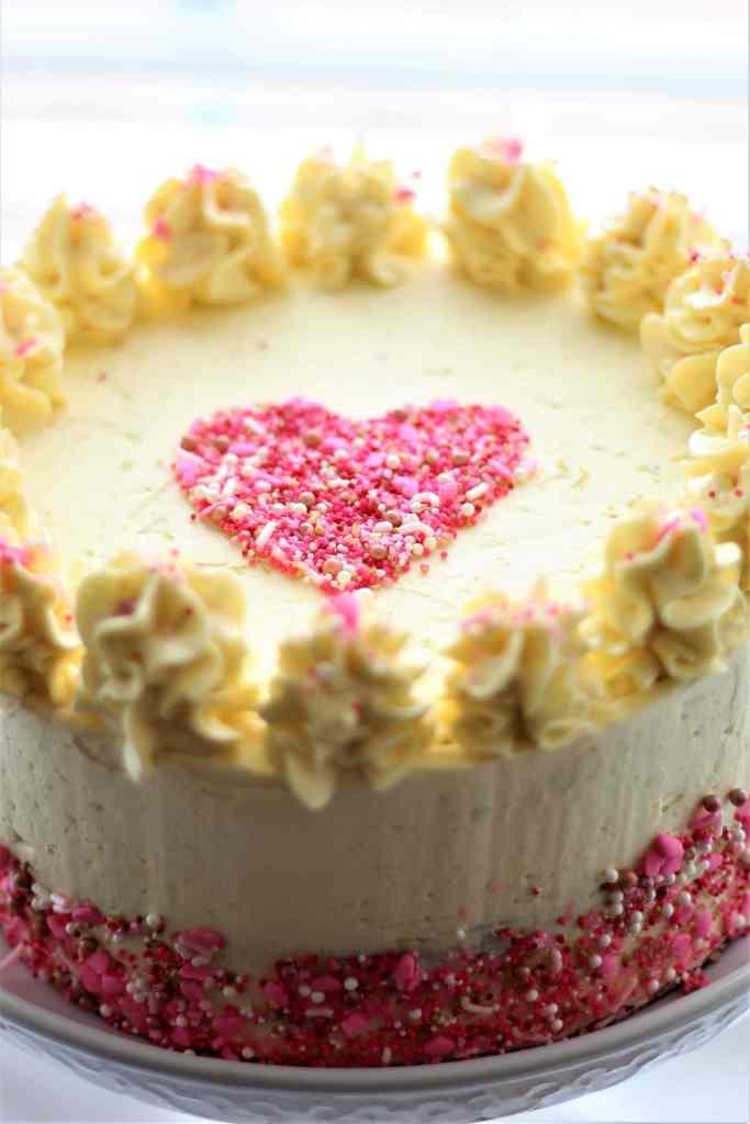 heart on top of gf red velvet cake