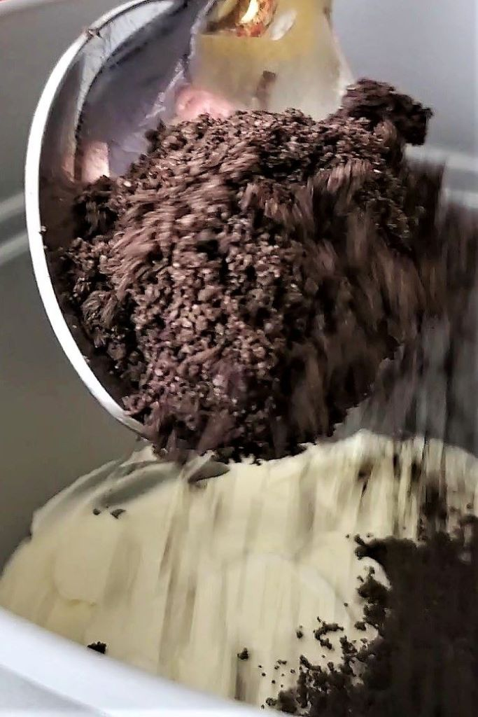 sprinkling crumbs on top of pudding mixture