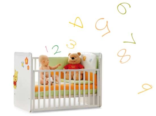 Lettino per neonati Winnie the Pooh trasformabile in letto