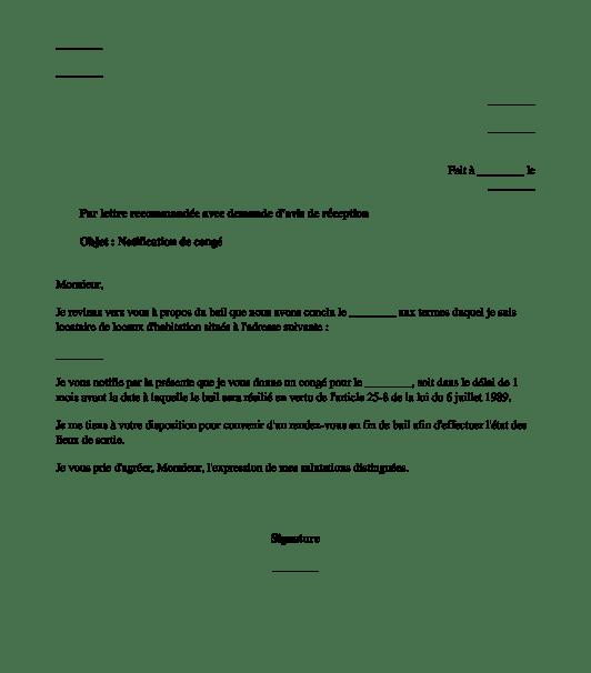 Modele De Lettre Pour Rsilier Un Bail Locatif Modle De