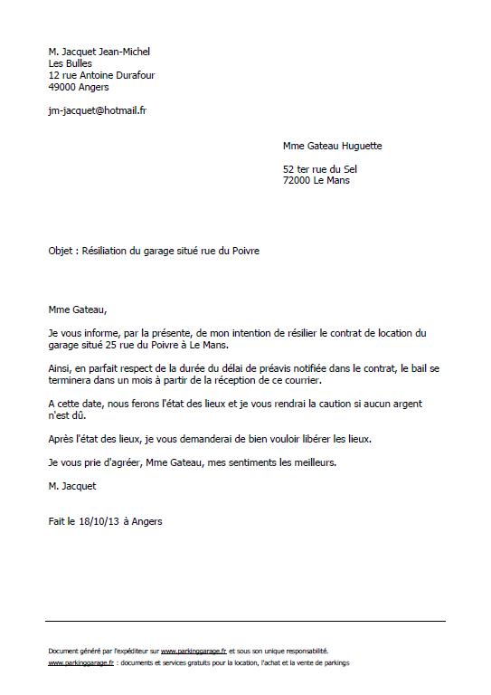 image lettre de resiliation de garage modele cv