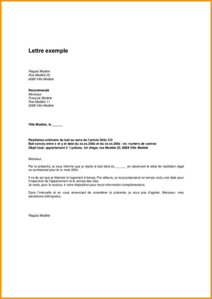 image lettre de resiliation de bail de logement modele cv