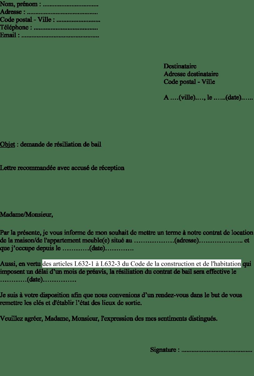 Exemple De Lettre Recommande Pour Quitter Un Appartement