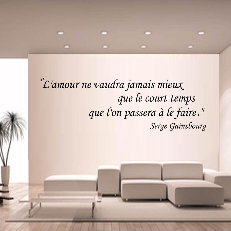 sticker mural citation l amour ne vaudra jamais mieux que le court temps que l on passera a le faire serge gainsbourg ref 24