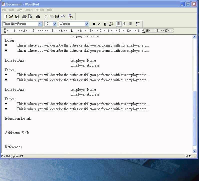 exemple de cv format wordpad