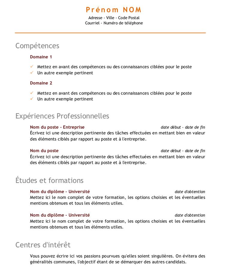 comment marquer ses competences cv