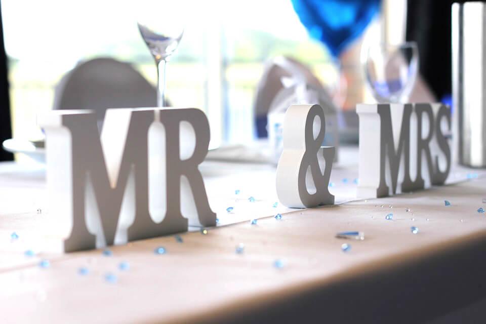Idées Cadeaux personnalisées mariage décoration Mr&Mrs PVC blanc