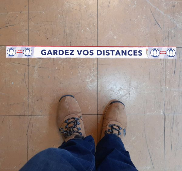 Marquage sol distance sécurité