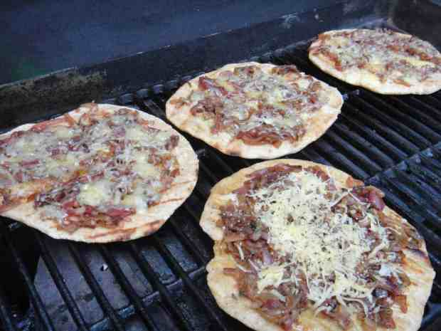 Caramelized Three Onion and Thyme Pizza with Fontina Cheese on the grill