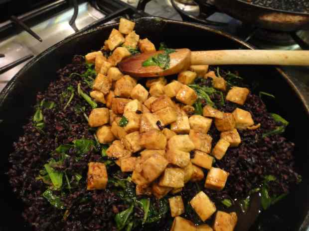 Lacquered Tofu with Spinach, Arugula and Black Rice