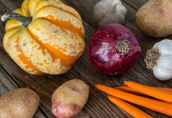 raw vegetables for Roasted Fall Vegetables and Tamari Tempeh