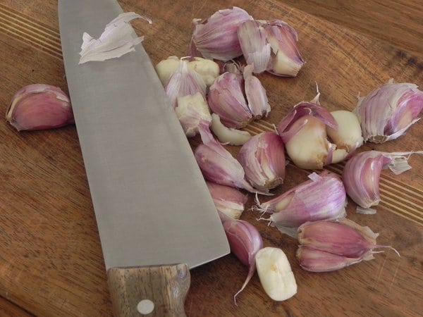 smashed garlic for Garlic and Rice Soup
