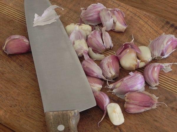 smashed garlic for Garlic and Rice Soup