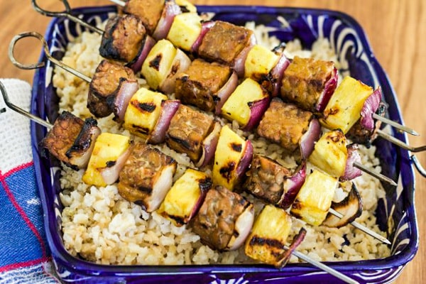 Tempeh and Pineapple Kebabs with Peanut Satay Sauce | Letty's Kitchen