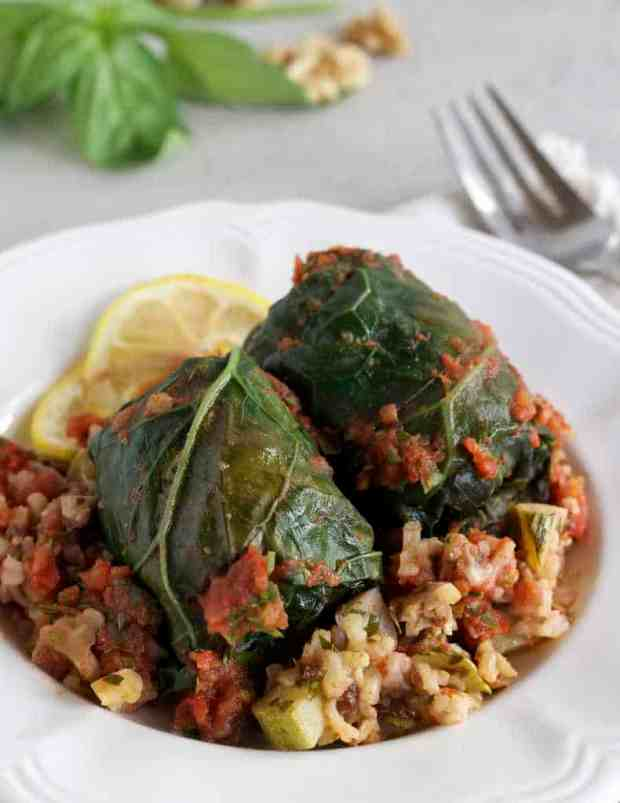 Collard Rolls with Rice Pilaf