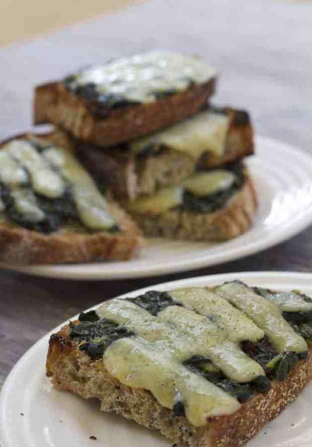 Rainbow Chard Garlic Toasts