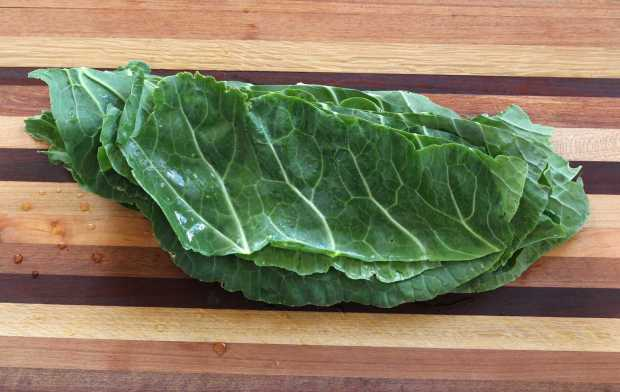 collard leaves ready to cut for Dirty Rice with Collards and Leeks