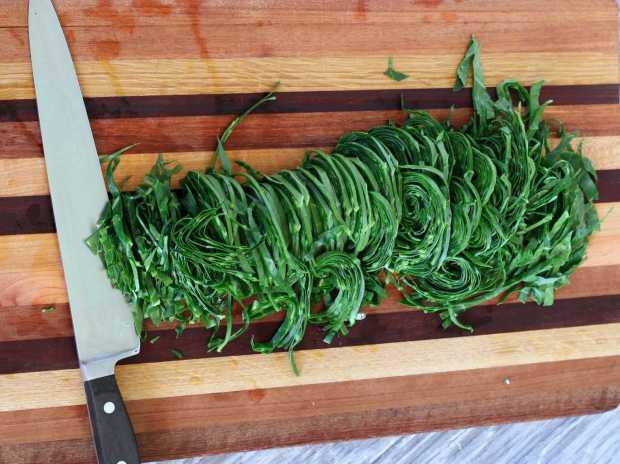 collard ribbons ready to add to the rice