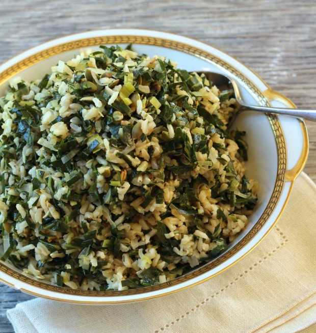 Dirty Rice with Collards and Leeks in bowl overhead photo