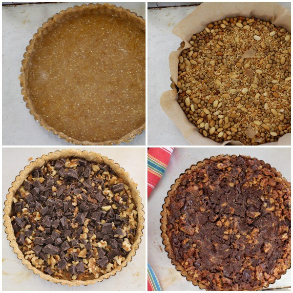 Blind baking step-by-step for Walnut and Chocolate Tart
