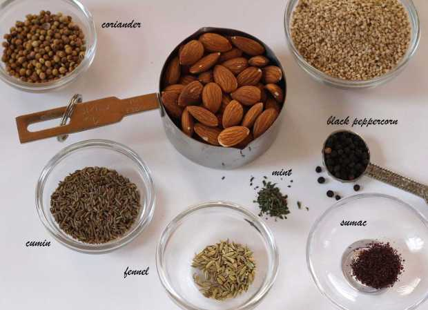 ingredients for Hasselback Potatoes with Dukkah Spice
