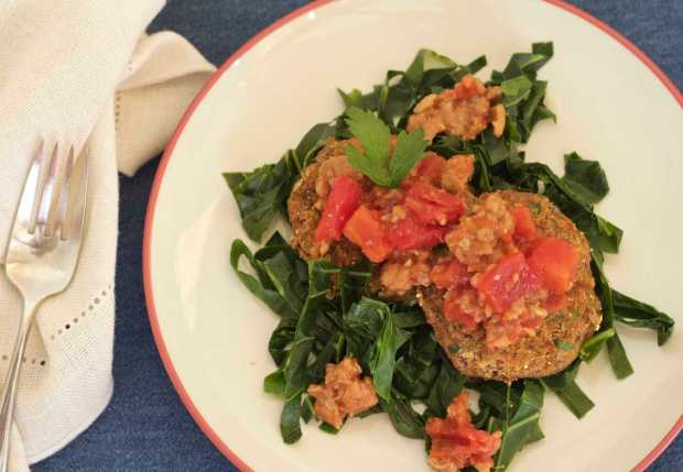 Hoppin' John fritters with collards and 'soysage'