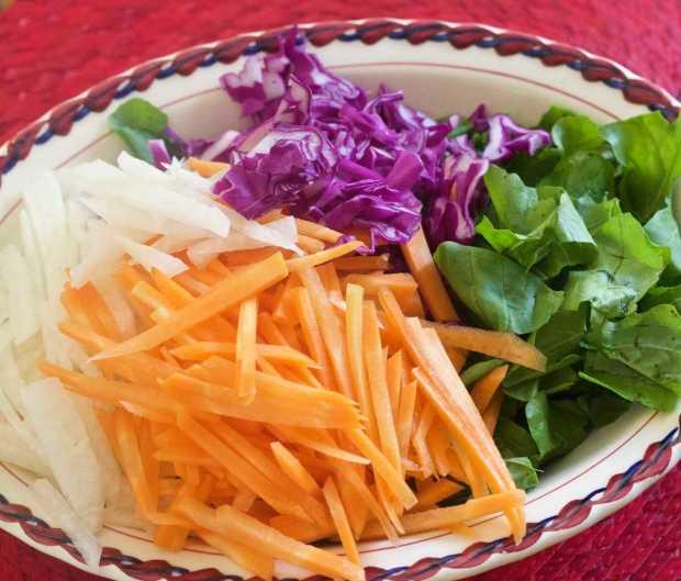 Arugula, carrots, jicama, red cabbage for Guajillo Chile Dressing