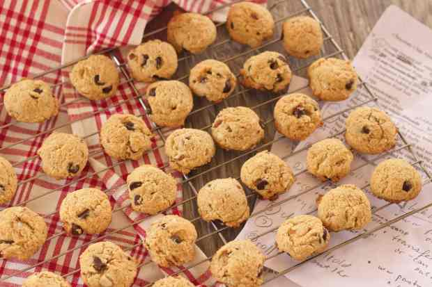 Small size gluten free Chocolate Chip Almond Cookies cooling on rack atop recipe notes