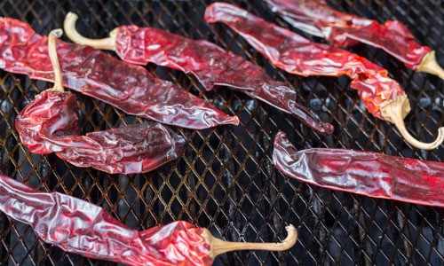 New Mexico chiles on grill