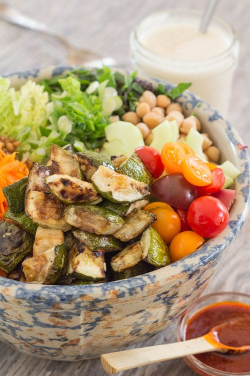 Summer Harvest Salad with Chickpeas and Wheat Berries--dressing on side