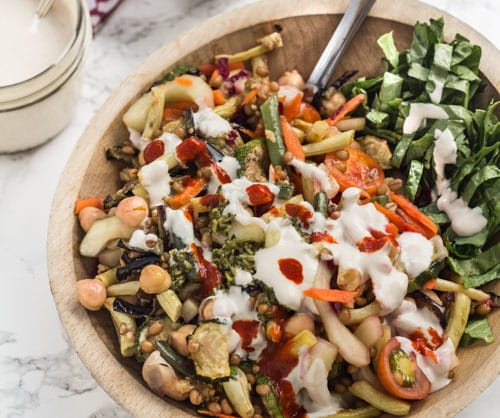 Summer Harvest Salad with Chickpeas and Wheat Berries -Gorge version